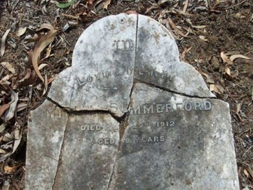 Fig.8 Major Summerford's tombstone, destroyed by lighting.